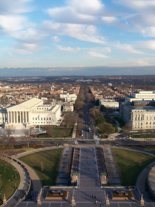 Looking down E Capitol Street. Supreme Court on the left, Library of Congress on the right.