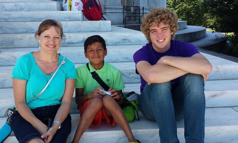 Lydia (my sister), Diego (my nephew) & Seth on steps of Jefferson Memorial