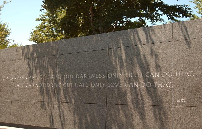 MLK quote near memorial entrance