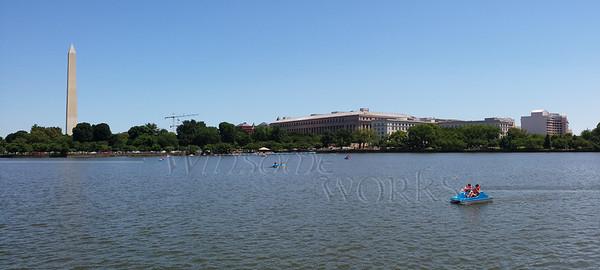 Washington Monument across the Lake  - panorama