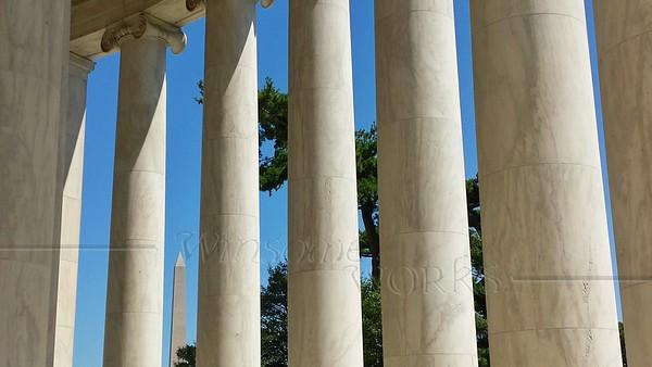 Washington Monument seen through Jefferson Memorial Columns