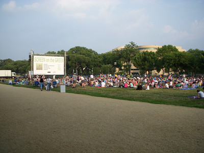 Its about 7:30pm in the evening and the locals are getting ready for a movie as soon as the sun goes down.