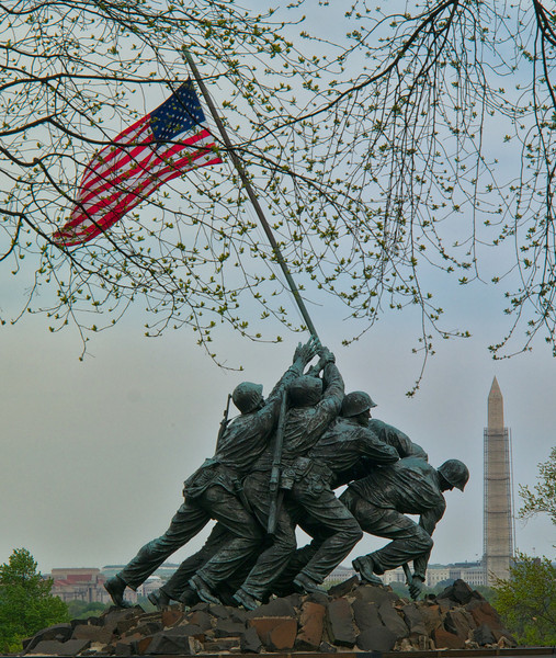 US Marine Corp Memorial (also know as Iwo Jima Memorial), aligned with Washington Monument