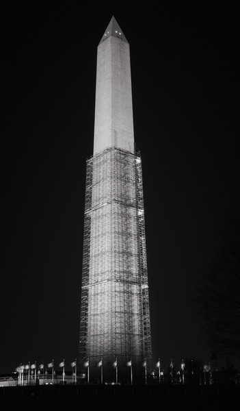 Washington Monument at Night (in black&white); scaffolding for repair of earthquake damage (April 2013)
