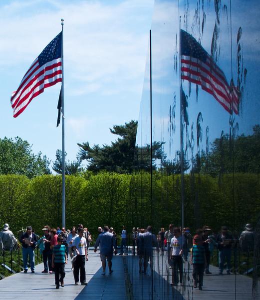 Mirror Image from granite wall at Korean War Veterans Memorial