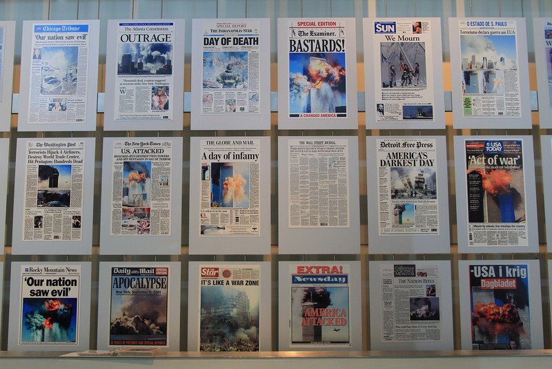 The 9/11 headline wall at Newseum.