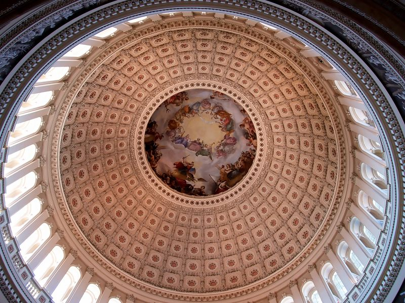 "Ceiling mural in the ""Grand Rotunda"" of the U.S. Capital."