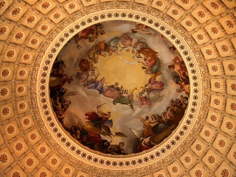 Closer shot of ceiling mural.
