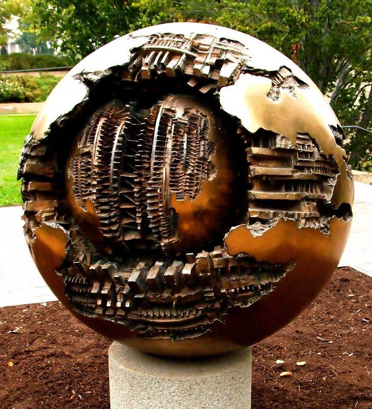 """Modern art sculpture from the """"Sculpture Garden"""" on the Mall."""