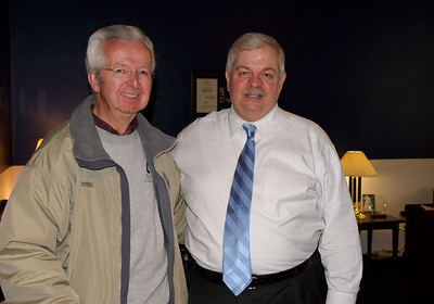 Dad with Phil Hare, his Congressman.  Mother and Dad have hosted several fundraisers in their home for Phil.
