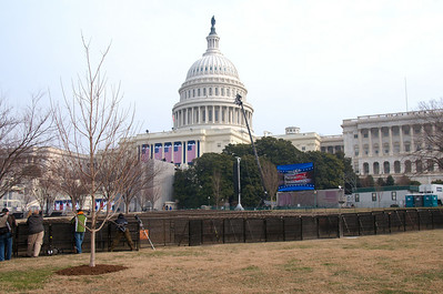 The back area of the Capitol where the swearing in will take place tomorrow.  We're in the back of the Blue ticket area.  Carol and I would be in the Orange section near the screen in the center of the photo.