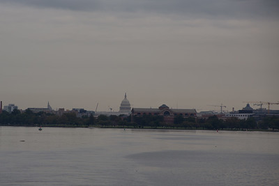 The U.S. Capitol and the National War College from the confluence of the Potomac and Anacostia Rivers.