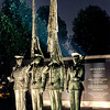 US Air Force Memorial - The Honor Guard statues are effectively lit at night, casting shadows across the memorial and guarding the Air Force core values.