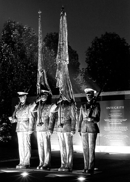 "US Air Force Memorial - Honor Guard statues in front of a description of Air Force core values.  ""Integrity"" is visible to the right.  Behind the statues are the other two values:  Service and Excellence."