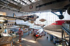 Various commercial aircraft through the years, including the Boeing 247, the Ford Trimotor, Douglas DC-3 and the nose of a Boeing 747.