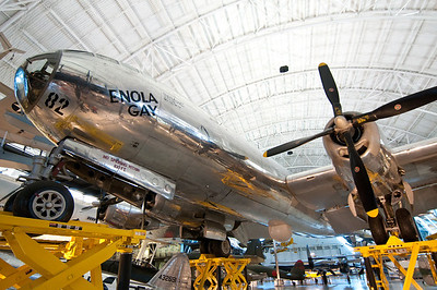 Boeing B-29 Superfortress, WWII long range bomber. This is the famous Enola Gay, the plane that dropped the atomic bomb on Hiroshima. This plane was named after the mother of the pilot, Paul Tibbets. This plane generated much contoversy when it was included for display in the museum.