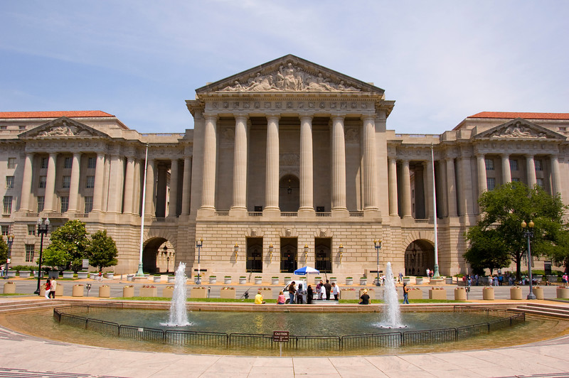 This picture was taken from the steps of the Smithsonian's National Museum of American History.  This fountain is located at the museum's Constitution Avenue entrance.  Across the street is the impressive headquarters of the Environmental Protection Agency.
