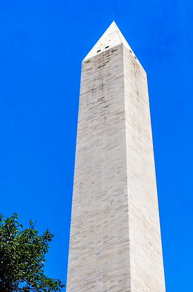 Washington Monument - close up with observation windows at the top.