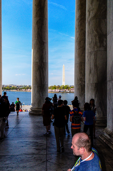 Washington Monument - View of the Monument across the Tidal Basin from inside the Jefferson Memorial.