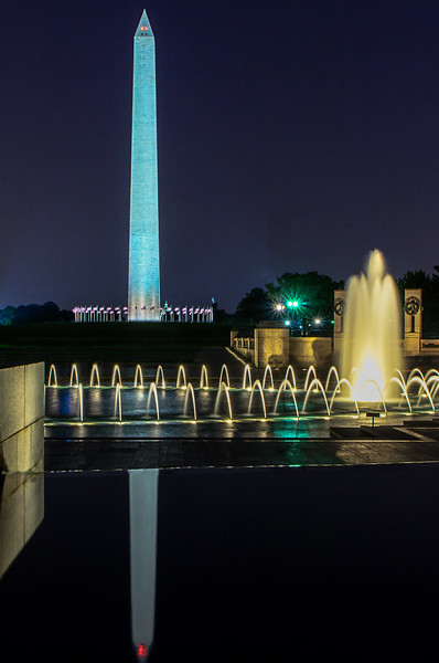 Washington Monument - View of the Monumentin at night with World War Two Memorial in the foreground.