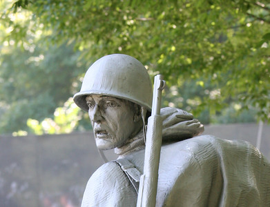 Sculpture of soldier in the Korean War Veterans Memorial