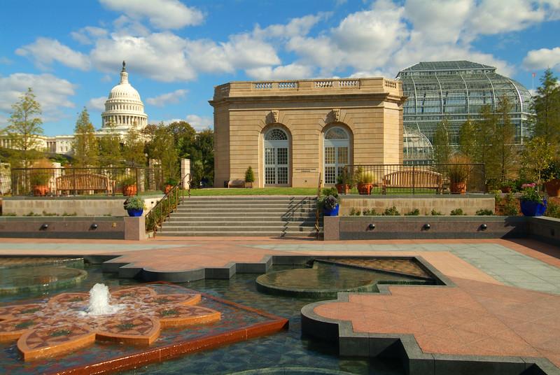 USA Washington DC U.S. Botanic Garden Conservatory and U.S. Capitol Bldg