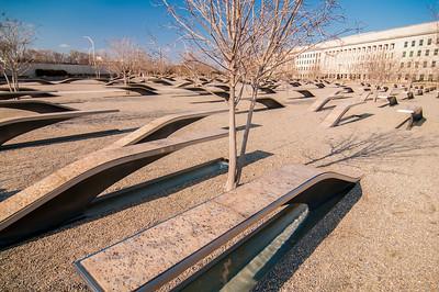 911 Memorial Victims Pentagon Attack in Arlington Virginia in the Washington DC Metropolitan area.