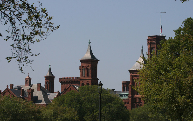Smithsonian Institute spires with flag at half-staff for 9/11 observation