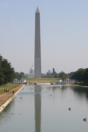 reflecting pool with Washington Momument and Capitol beyond