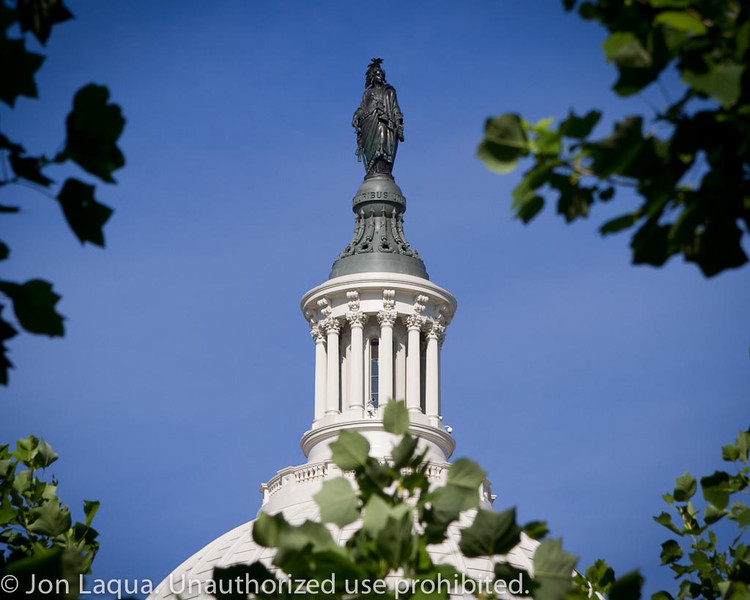 Freedom, the statue on top of the US Capitol.
