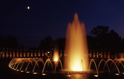 The World War II Memorial at sunset.