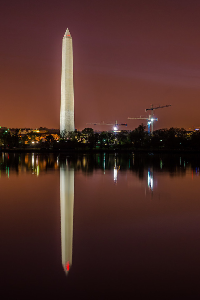 Washington Monument reflected in the Tidal Basin before dawn - Washington, DC