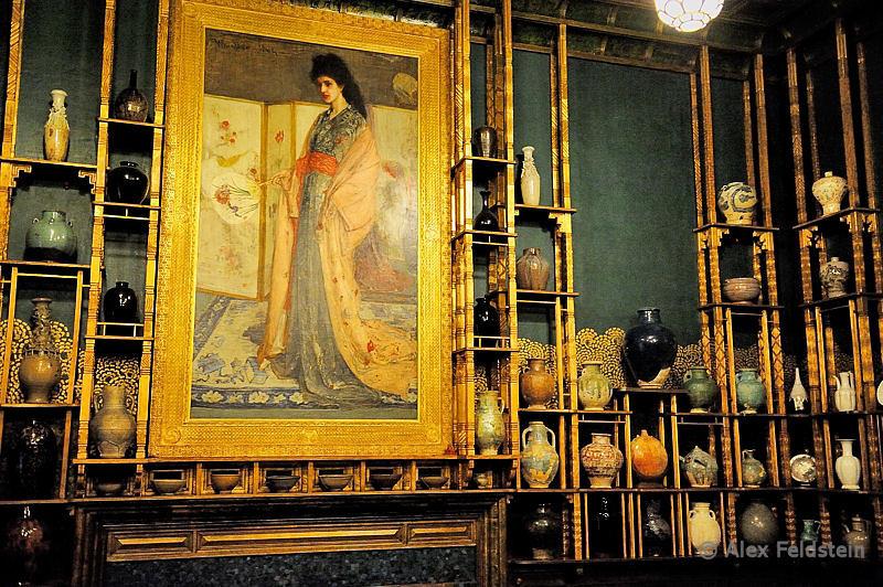 The Peacock Room - Freer Gallery<br /> La Princesse du pays de la porcelaine, 1863-64, by James McNeill Whistler (American, 1834-1903). Oil on canvas, 199.9 x 116.1 cm.