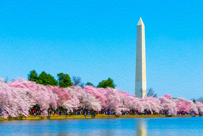 Washington Monument and Cherry Blossoms Oil Rendering
