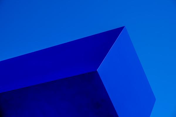 "Sculpture by Joel Shapiro entitled ""Blue"" at the Kennedy Center, Washington, DC (2020)"