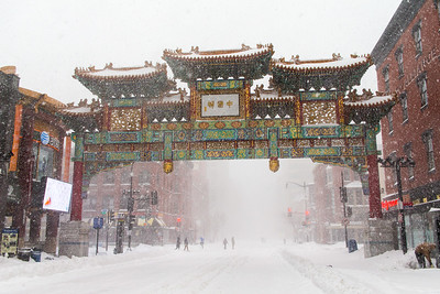 Chinatown Arch in Blizzard