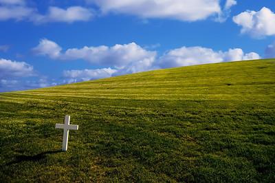 Bright white cross on grassy background.