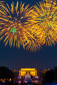 Starburst Fireworks Above Lincoln Memorial