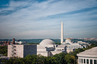 View of Washington Monument from rooftop 101 Constitution   Sept 2012