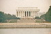 The Lincoln Memorial and a drained reflecting pool in the foreground.