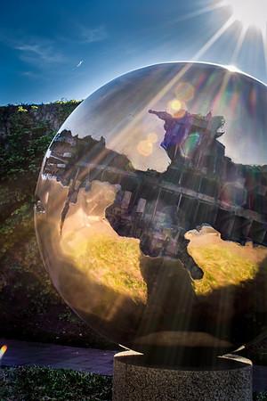 Arnaldo Pomodoro's Sphere No. 6 at the Hirshhorn Sculpture Garden in Washington, DC.