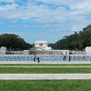 It is a large monument, situated so that to the west there is a clear view of the Lincoln Memorial at the end of the Mall.