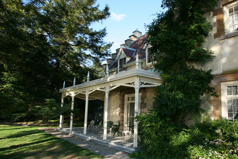 This is the front porch of the Washington Irving home and looks out over the Hudson River.