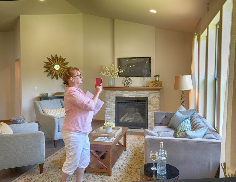 Sharon checking out her new house.
