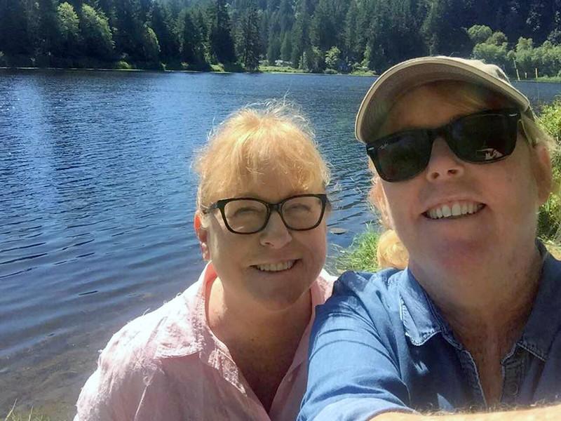 Sharon and Lisa at Lake Louise, a small lake near Lake Whatcom, in Bellingham, WA