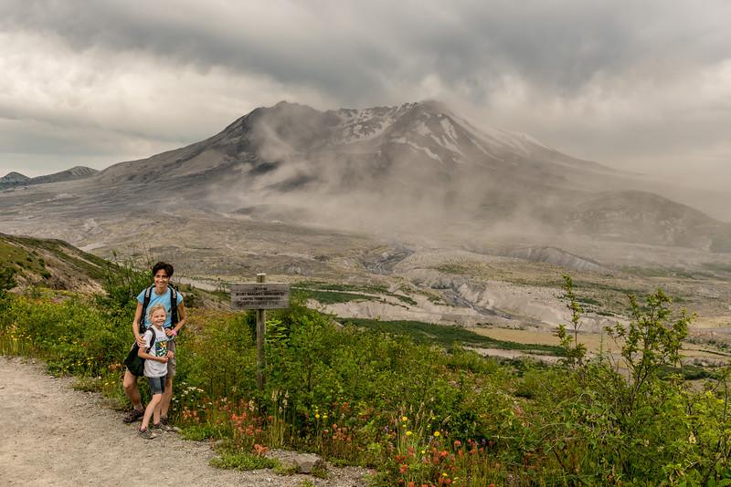 On Johnston Ridge, in front of Mount Saint Helens