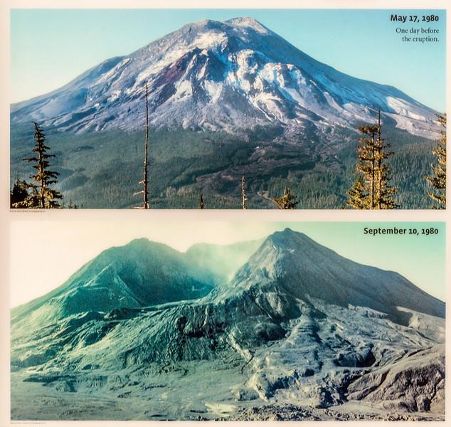 Interpretative panel at Johnston Ridge Observatory: Mount Saint Helens before and after the eruption