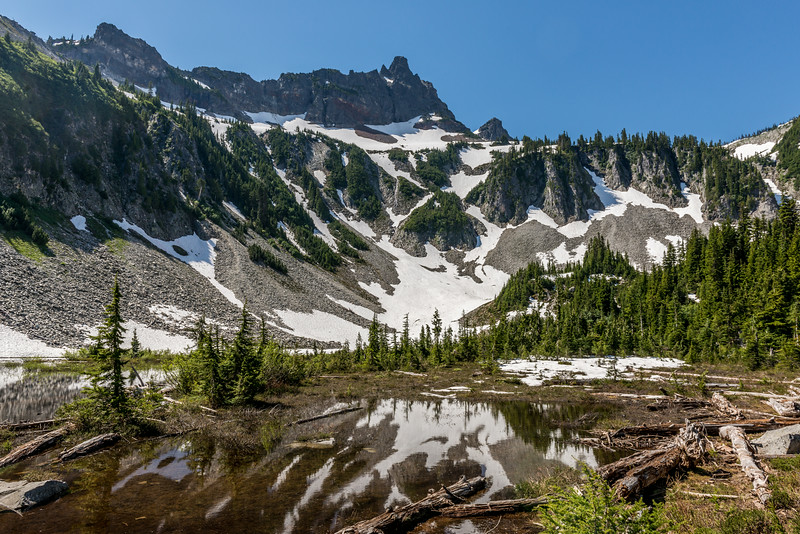 Unicorn Peak from above Snow Lake. Tatoosh Range, Mount Raineir National Park
