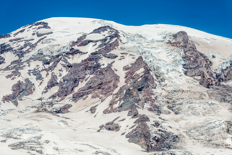 The summit of Mount Rainier (4392m) and the Nisqually Glacier from Glacier Vista. Paradise, Mount Rainier National Park