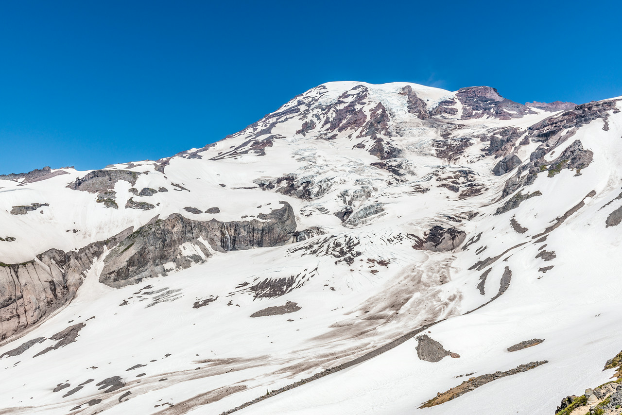 Mount Rainier (4392m) from Glacier Vista. The Nisqually Glacier descends from the summit at centre image. Paradise, Mount Rainier National Park